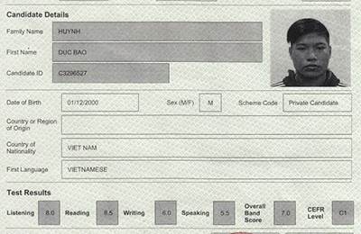 Chúc mừng bạn Huỳnh Đức Bảo - Từ IELTS 3.0 đạt IELTS 7.0